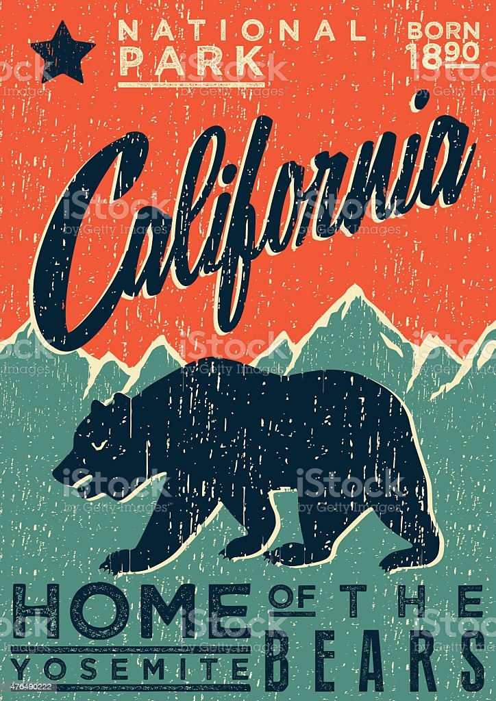 CALIFORNIA BEAR POSTER vector art illustration