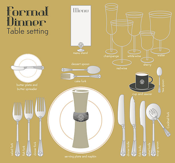 formal dinner table setting - black tie events stock illustrations, clip art, cartoons, & icons