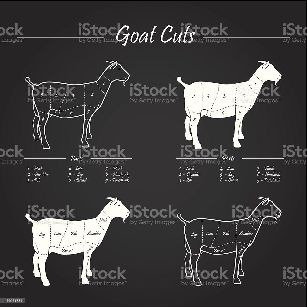 GOAT MEAT CUTS SCHEME royalty-free stock vector art