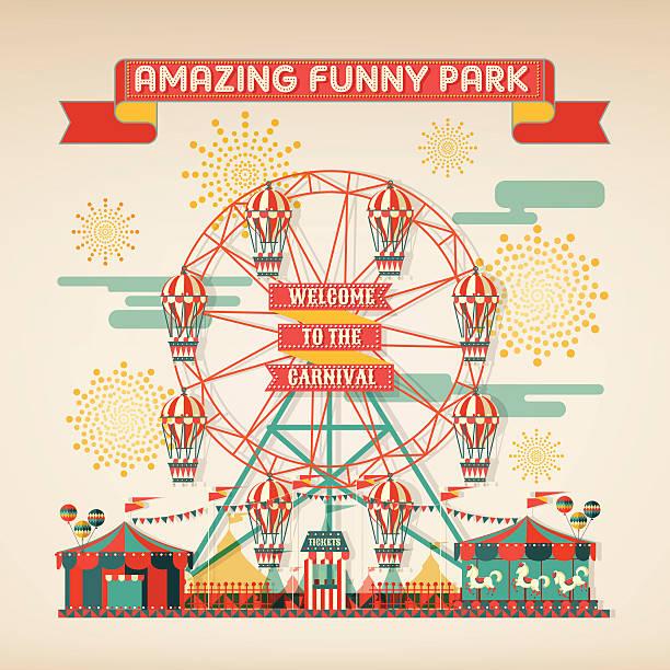 FUNNY PARK CARNIVAL DAY SCENE ELEMENTS design elements of funny park vector illustrations agricultural fair stock illustrations