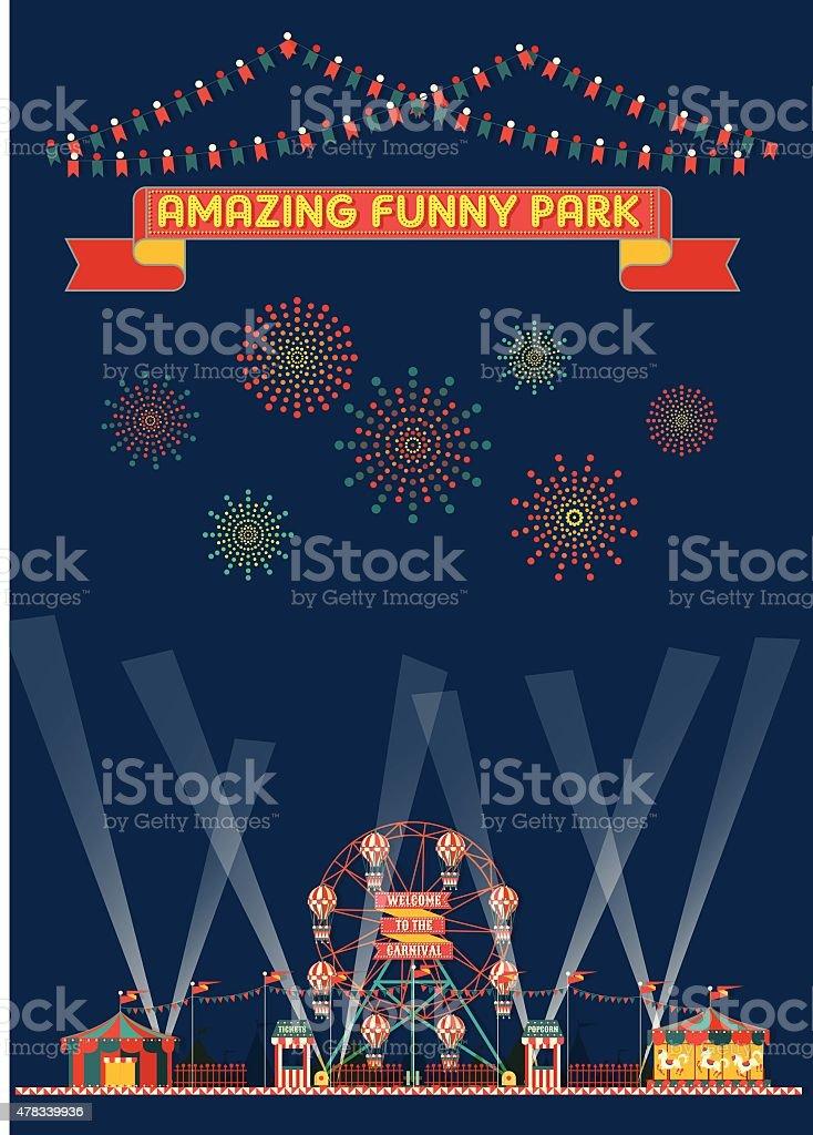 FUNNY PARK CARNIVAL NIGHT SCENE WALLPAPER vector art illustration