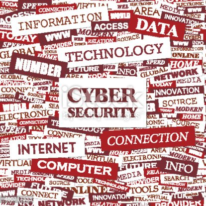 CYBER SECURITY. Word cloud concept illustration. Wordcloud collage.