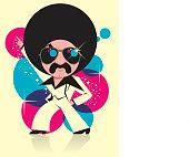 Man dancing disco music.