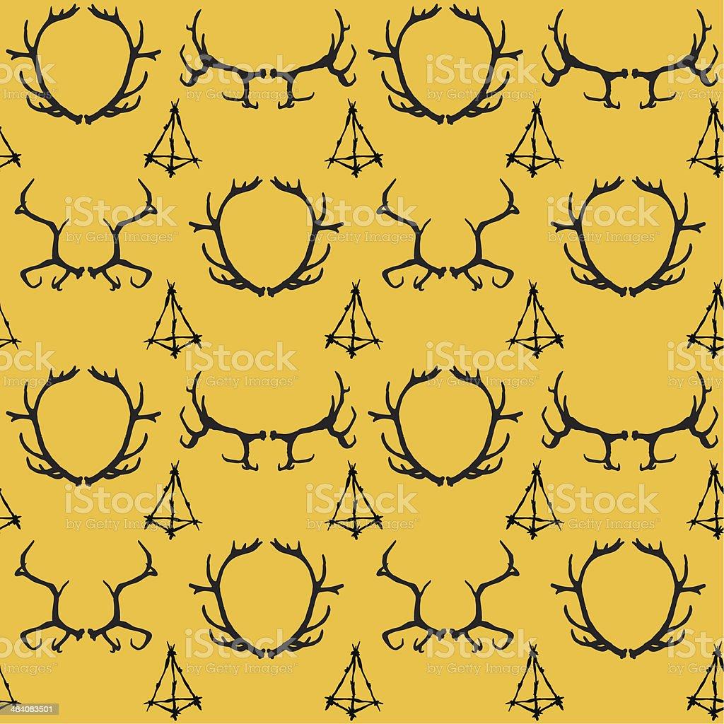 True_gothic_seamless_background_with_different_deer's_horns_and_twigs_pyramid - ilustração de arte em vetor