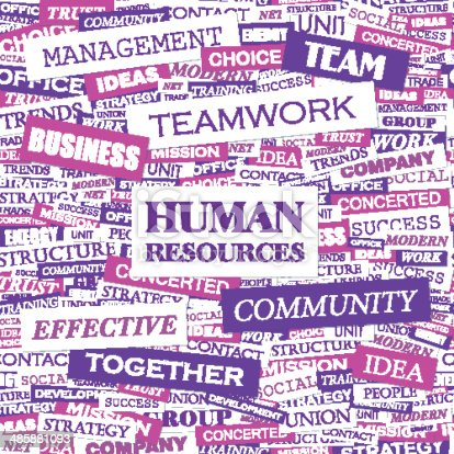 HUMAN RESOURCES. Concept illustration. Graphic tag collection. Wordcloud collage.