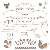 Set decoration. Consists of leaves, twigs, buds, wreaths. White background.