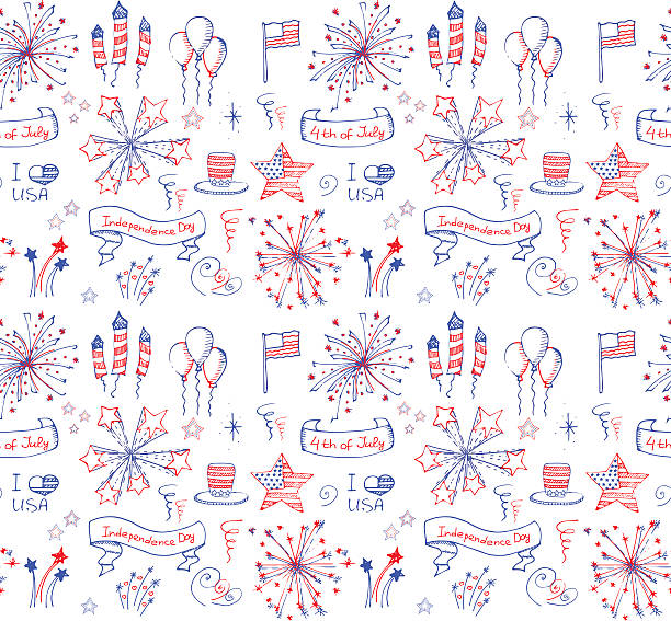 usa - family 4th of july stock illustrations