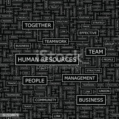 HUMAN RESOURCES. Seamless pattern. Word cloud illustration.