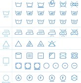 Large selection of icons for clothes washing and fabric care instructions.
