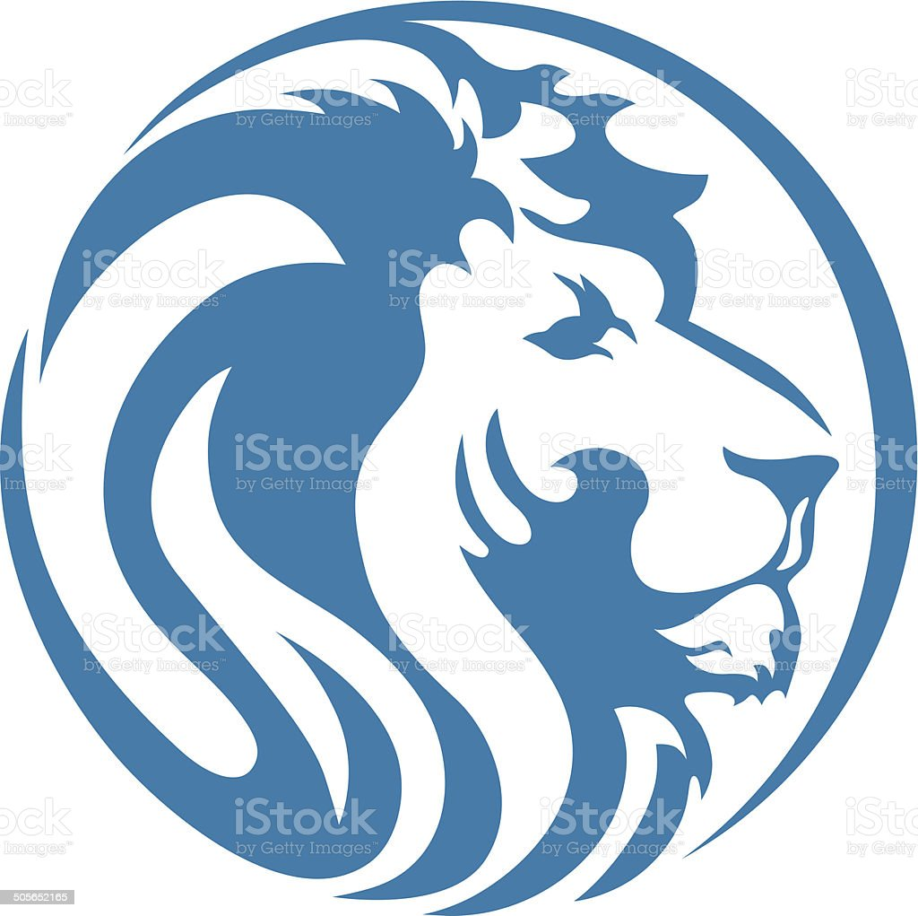 LION HEAD BLUE vector art illustration