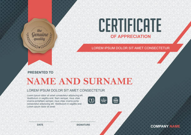 CERTIFICATE 213 certificate template with clean and modern pattern, certificates and diplomas stock illustrations