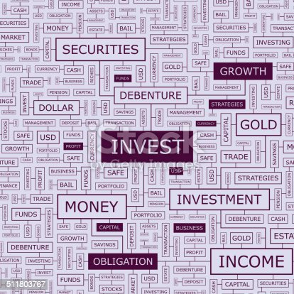 INVEST. Word cloud illustration. Tag cloud concept collage. Usable for different business design.