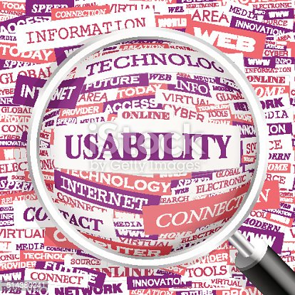 USABILITY. Concept illustration. Graphic tag collection. Wordcloud collage.