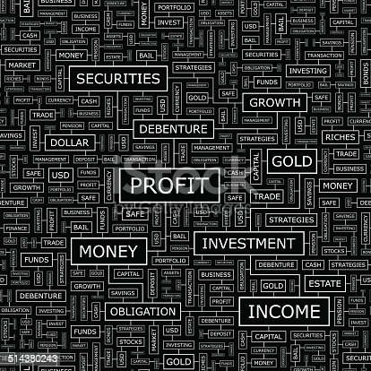PROFIT. Seamless pattern. Word cloud illustration.