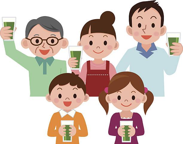 青汁を飲む家族 ベクターアートイラスト
