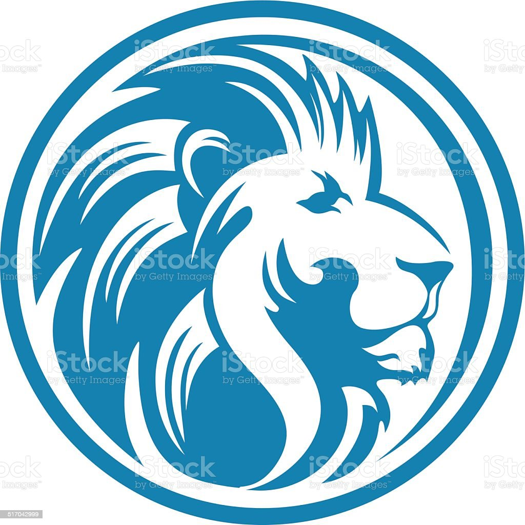 LION HEAD CIRCLE vector art illustration