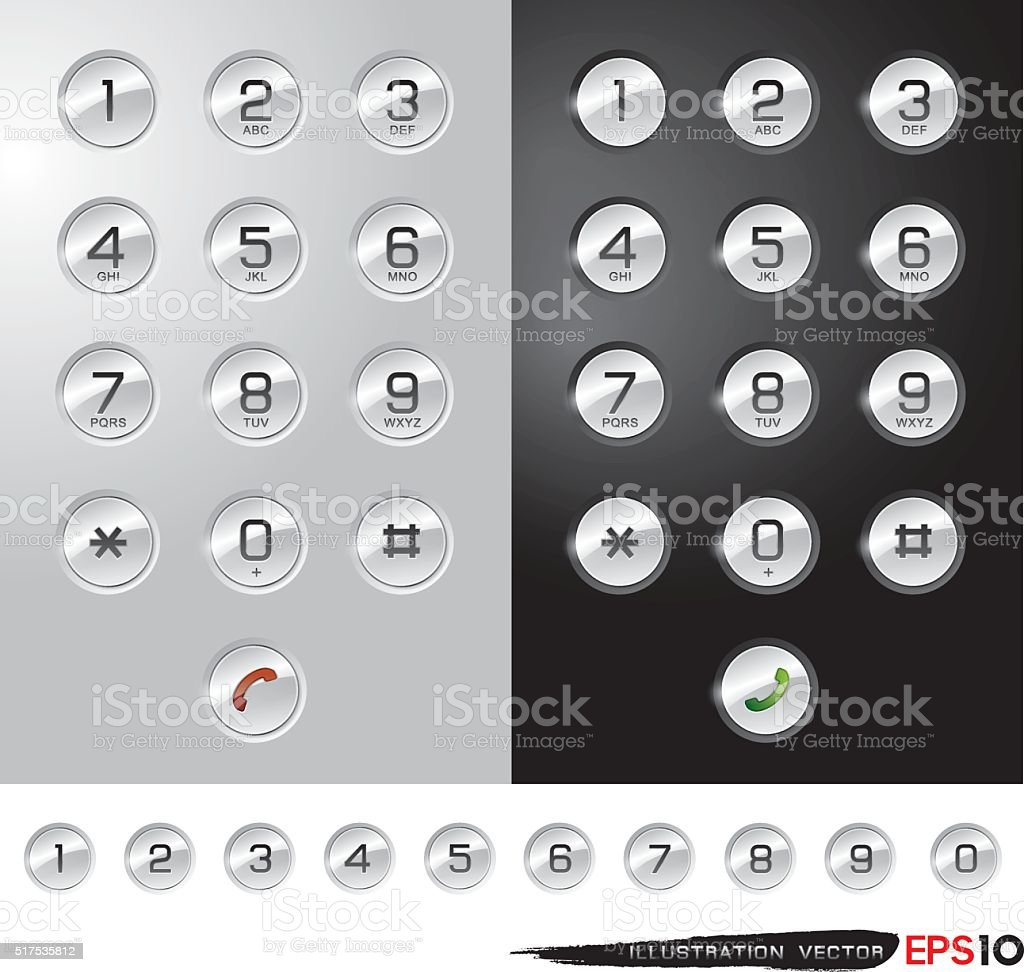 PHONE NUMBER BUTTON vector art illustration