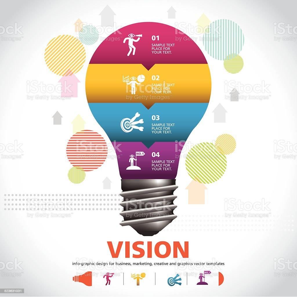 BULB ICON WITH IDEA CONCEPT. INFO GRAPHIC vector art illustration