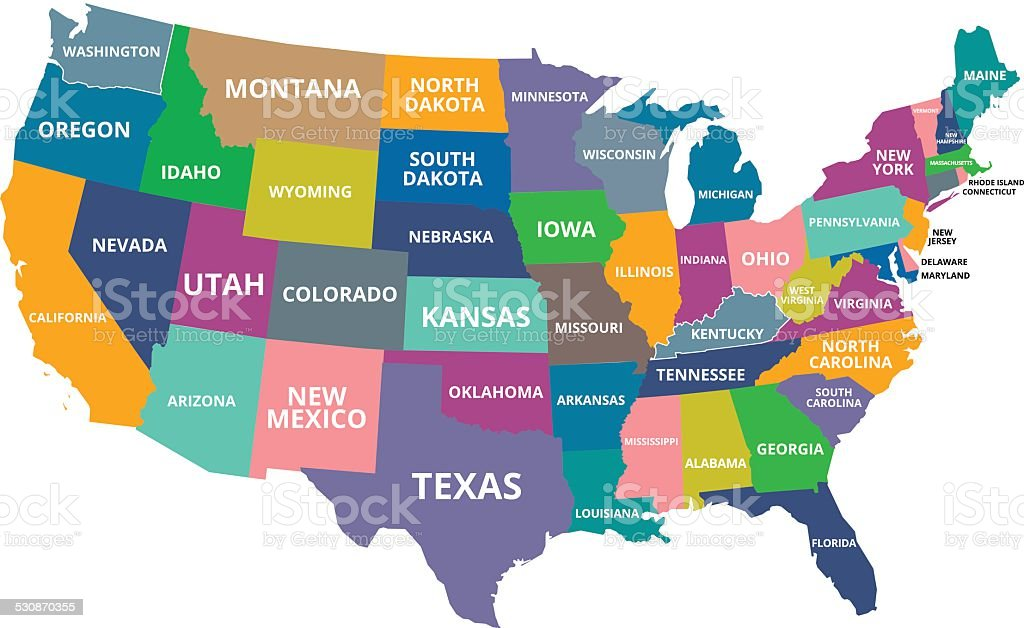 COLORFUL USA MAP vector art illustration