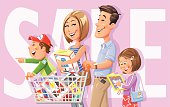 "Illustration of a young family going shopping. The little son is standing in the shopping cart pushed by his father, the mother is carrying a box and and the daughter is reading a new book. In the background is a big text ""SALE"". EPS 10, grouped and labeled in layers."