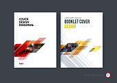 Abstract cover design, business brochure template layout, report, magazine or booklet in A4 with red yellow dynamic diagonal rectangular geometric shapes on polygonal background. Vector illustration.