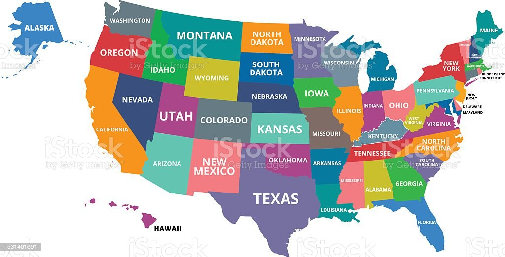 Colorful Map Of Usa.Colorful Map Of Usa Stock Vector Art More Images Of 2015 531461691