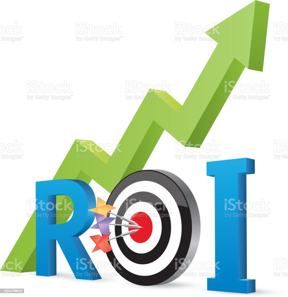 ROI (Return On Investment) vector art illustration