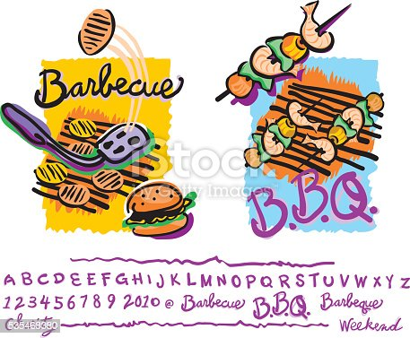 Scribbled Barbecues with matching hand lettering