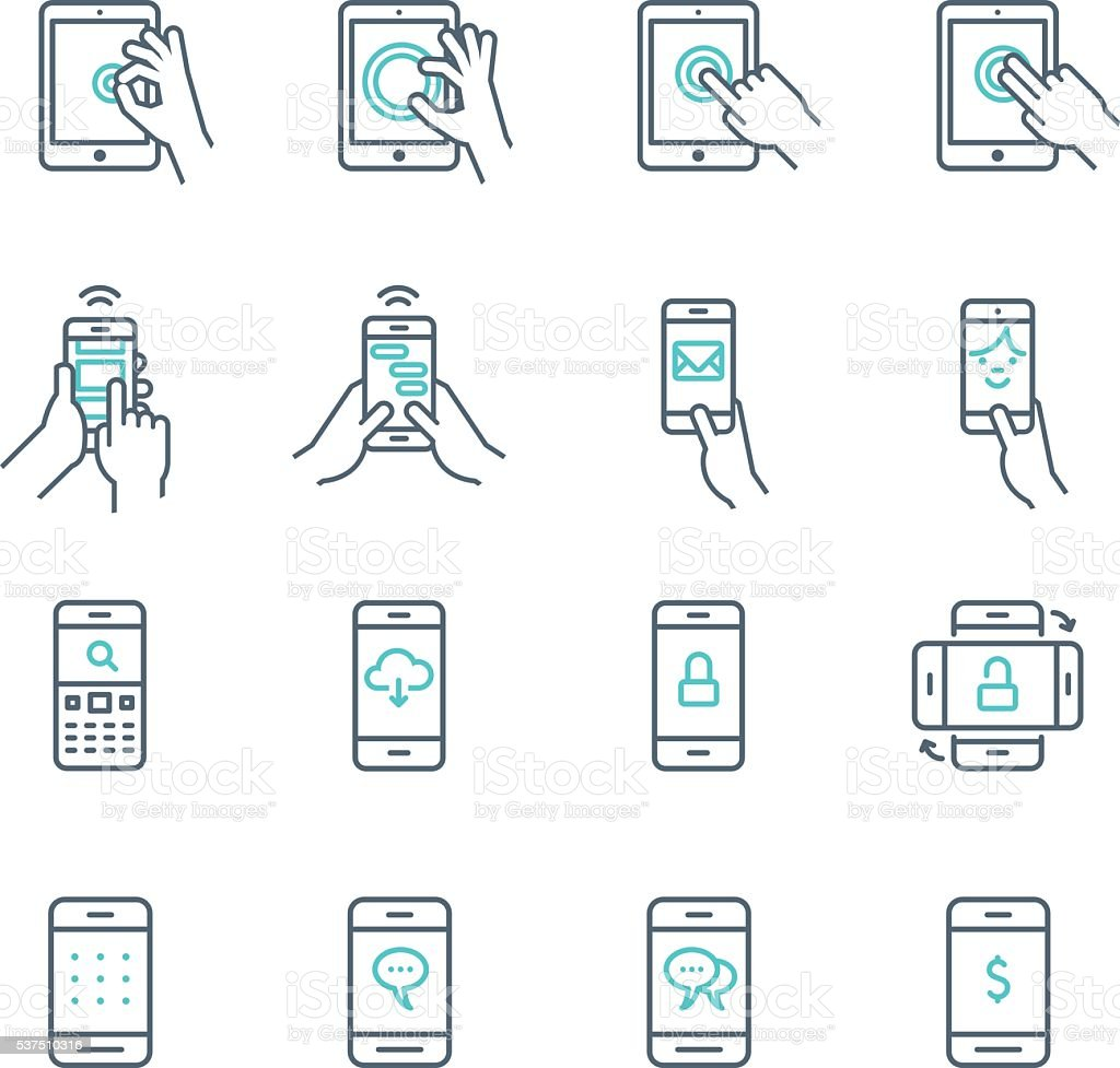 PHONE AND TABLET ICON SET vector art illustration