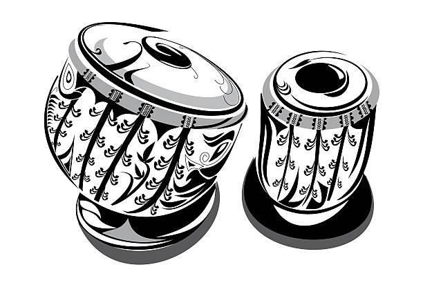 TABLA Indian Famous Music Instrument Tabla Artistic Line art  tavla stock illustrations