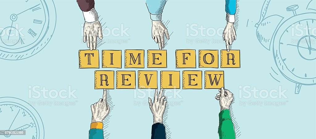 TIME FOR REVIEW vector art illustration