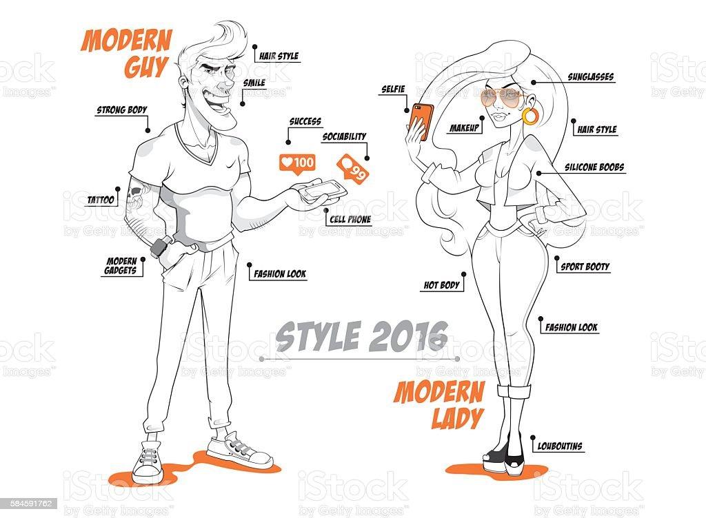 FASHION MODERN PEOPLE vector art illustration