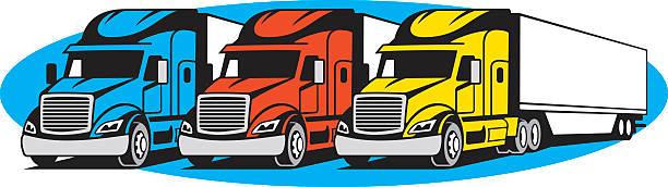 ilustraciones, imágenes clip art, dibujos animados e iconos de stock de semi trucks - conductor de autobús