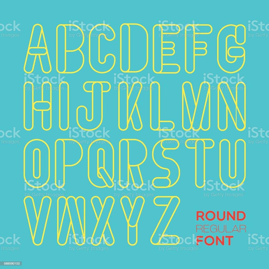 ROUND REGULAR FONT vector art illustration