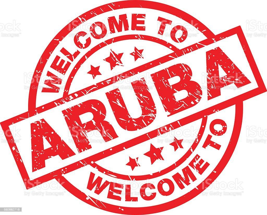 WELCOME TO ARUBA vector art illustration