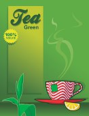 poster design with green tea and cup background