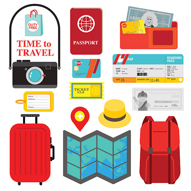 TIME TO TRAVEL Collection of necessary things for trip is display as  travel packing checklist. Colorful icons in red, yellow and blue are fit to people who is ready for vocation. train ticket stock illustrations