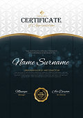 certificate template with Luxury black and golden elegant pattern,Vector illustration