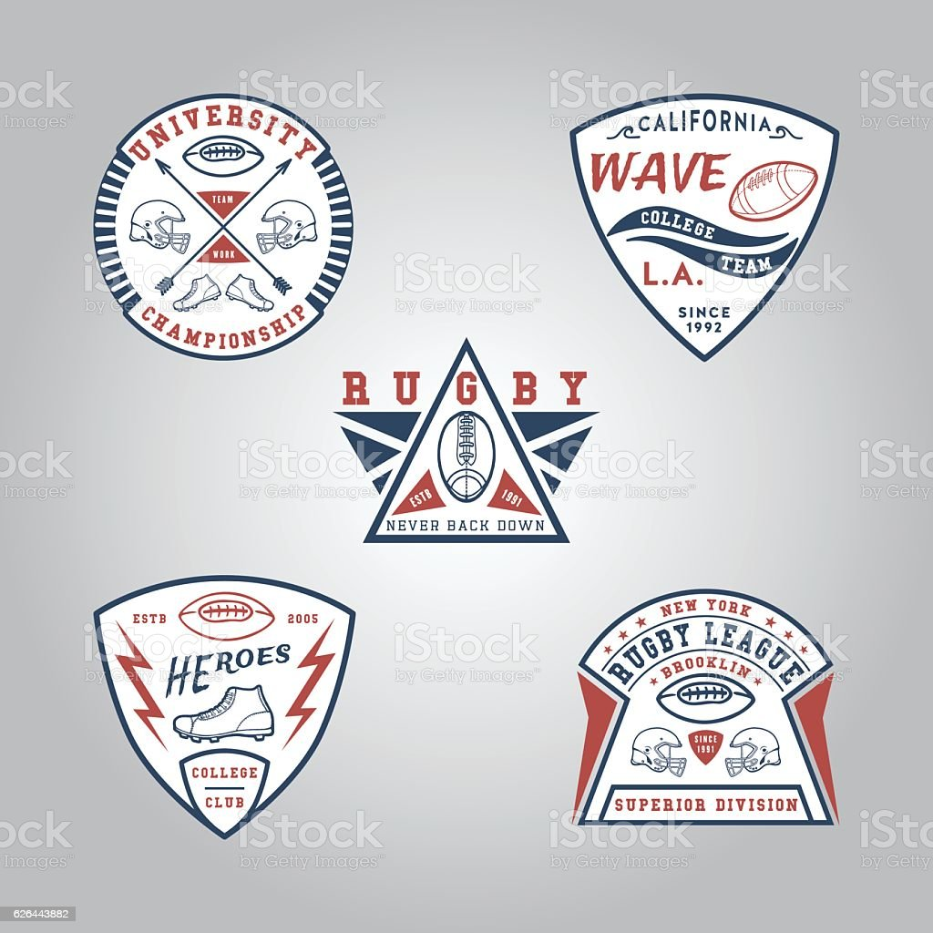 SET OF BADGE RUGBY.