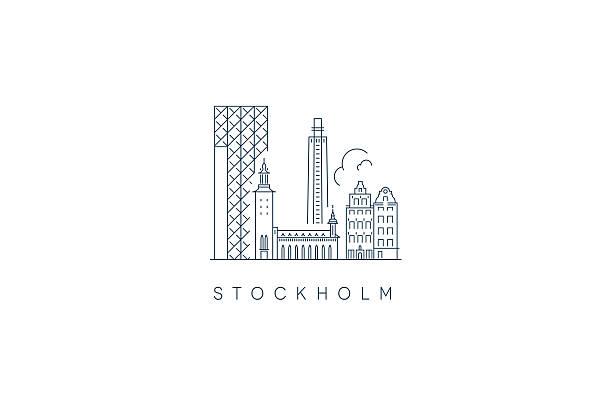 bildbanksillustrationer, clip art samt tecknat material och ikoner med stockholm city skyline - stockholm