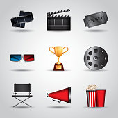 cinema related icon set over white background. colorful design. vector illustration