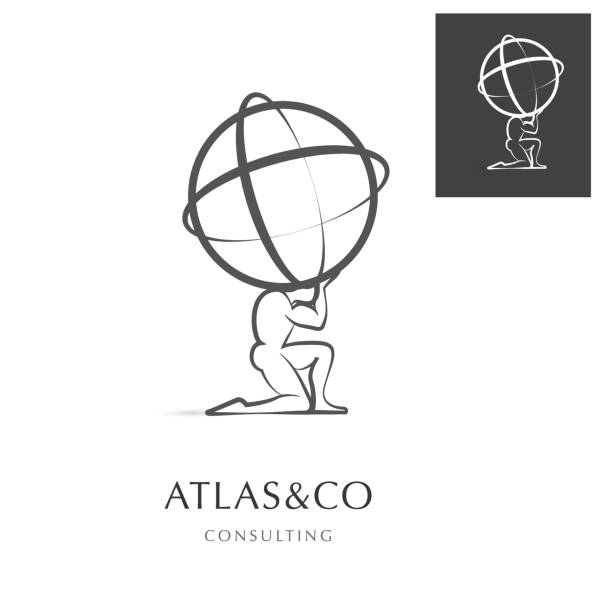 ATLAS , CORPORATE VECOTR ICON PREMIUM CORPORATE VECTOR DESIGN ELEMENT / ICON DESIGN , ATLAS HOLDING THE WORLD god stock illustrations