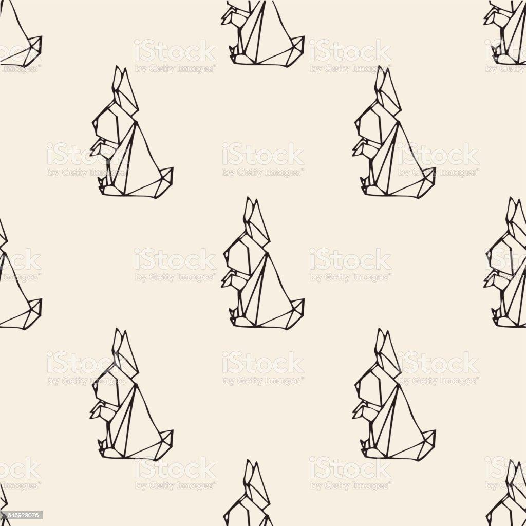 Seamless Monochrome Origami Rabbit Pattern Background Stock Vector