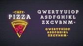 Pizza emblem. Pizza neon sign, bright signboard, light banner. Neon sign creator. Neon text edit