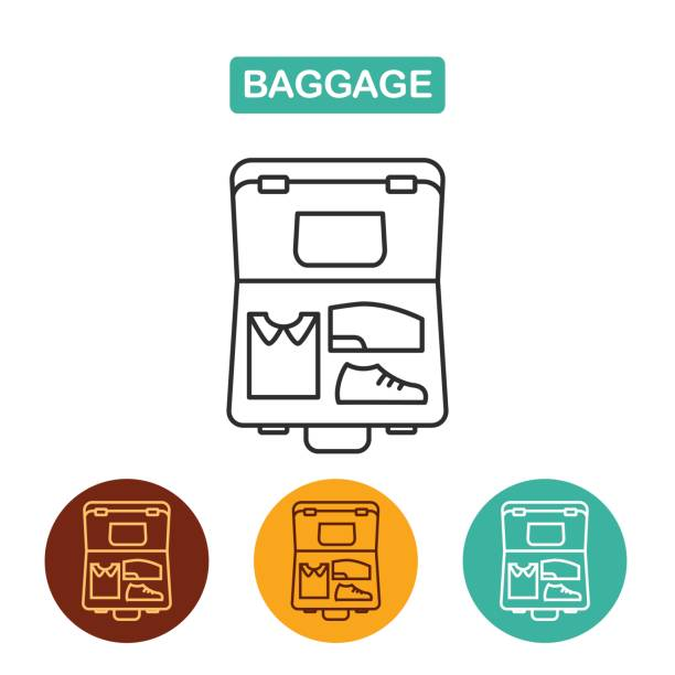 Печать Open suitcase. Luggage icon. Travel icon for web and graphic design. Line style mississauga stock illustrations