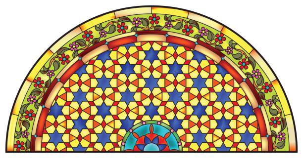 bildbanksillustrationer, clip art samt tecknat material och ikoner med is_abstract_floral_stars_pattern_half_round_stained_glass_window_design - hui style