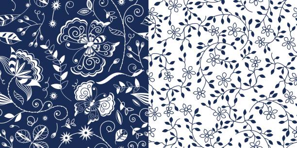 bildbanksillustrationer, clip art samt tecknat material och ikoner med pattern_set_navy_blue_floral_butterflies_small_flower_vine_white_background - hui style