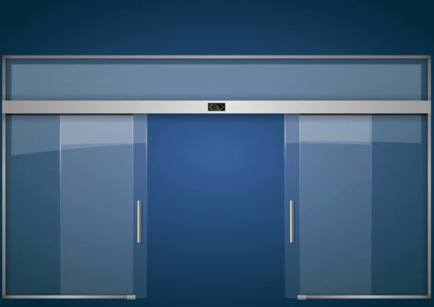 Основные RGB Double sliding glass doors with automatic motion sensor. Entrance to the office, train station, supermarket. airport borders stock illustrations