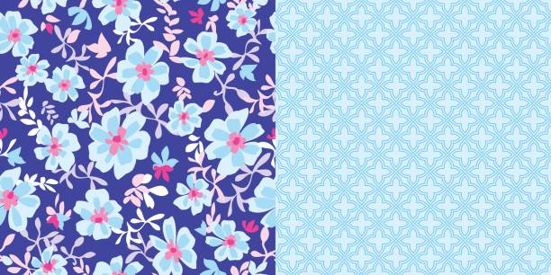 bildbanksillustrationer, clip art samt tecknat material och ikoner med repeat_patterns_coordinated_set_blue_floral_print_and_aqua_abstract_background - hui style