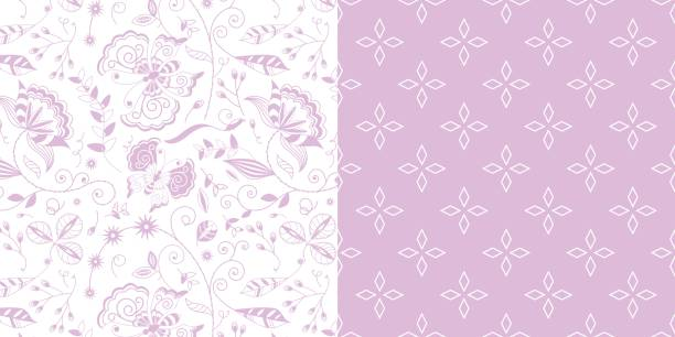 bildbanksillustrationer, clip art samt tecknat material och ikoner med repeat_pattern_coorndinated_set_lavender_floral_vine_butterflies_and_diamond_lineart_background - hui style